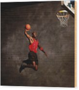 Michael Jordan Mock Action Portrait Wood Print