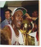 Michael Jordan Postgame Locker Room Wood Print