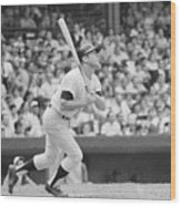 Mickey Mantle In Action Wood Print