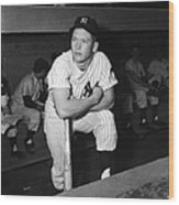 Mickey Mantle In Yankee Dugout Wood Print