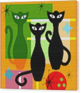 Mid Century Modern Abstract Mcm Bowling Alley Cats 20190113 Square Wood Print
