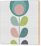 Mid Century Modern Teal Flower I Wood Print