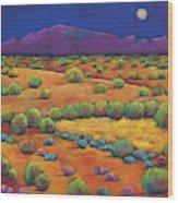 Midnight Sagebrush Wood Print