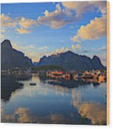 Midnight Sun Falls Upon The Village Of Reine Wood Print