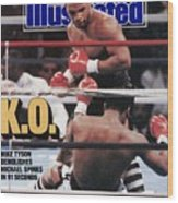 Mike Tyson, 1988 Wbcwbaibf Heavyweight Title Sports Illustrated Cover Wood Print