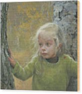 Mila Between Two Birches Wood Print