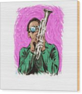 Miles Davis - An Illustration By Paul Cemmick Wood Print