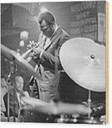 Miles Davis Performing In Nightclub Wood Print
