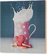 Milk And Heart Shape Cookies Wood Print
