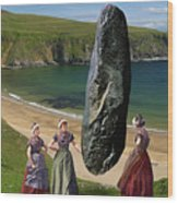 Milkmaids At The Monolith Wood Print