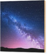 Milky Way And Pink Light At Mountains Wood Print