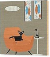 Mini Gravel Art Orange Chair Wood Print