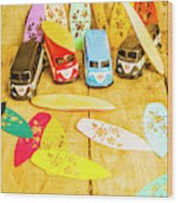 Mini Van Adventure Wood Print