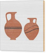 Minimal Abstract Greek Vase 20 - Oinochoe - Terracotta Series - Modern, Contemporary Print - Sienna Wood Print