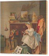 Miss Oakley Making The Scrapbook 1866 Wood Print