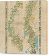 Mississippi River Historic Map Lousiana New Orleans Baton Rouge Map Farming Plantation Hand Painted  Wood Print