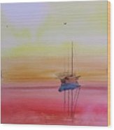 Misty Morning Boats Wood Print