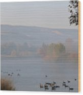 Misty River With Geese And Hills Wood Print