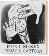 Mitch Blocks Today's Cartoon Wood Print