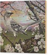 Mockingbird Sunset Wood Print