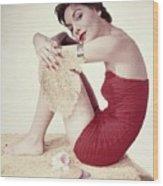 Model In A Red Jantzen Swimsuit Wood Print