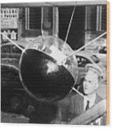Model Of Sputnik In Store Window Wood Print