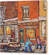 Molly And Bill's Duluth Near Coloniale And St Dominique C Spandau Plateau Mont Royal Hockey Artist  Wood Print