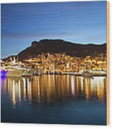 Monaco At Twilight Wood Print