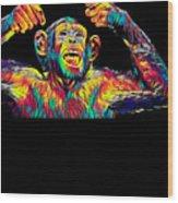 Monkey Drummer Gift For Musicians Color Design Wood Print