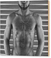 Mono Portrait Of An African Man Wood Print