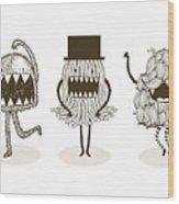 Monster Illustrationvector Wood Print