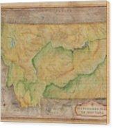 Montana Custom Map Art Rivers Map Hand Painted Wood Print