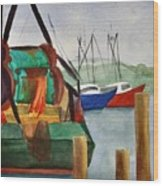 Montauk Dock W Wood Print