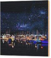 Monterey Bay At Night Wood Print