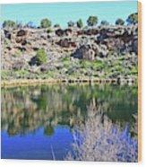 Montezuma's Well Az Water Blue Sky Reflections Stone Wall 3192019 5253. Wood Print