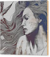 Monument - Red 'n Blue - Sleeping Beauty, Woman With Skyline Tattoo And Bird Wood Print