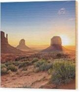 Monument Valley Twilight, Az, Usa Wood Print
