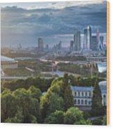 Moody Cityscape Of Moscow – Luzhniki Wood Print
