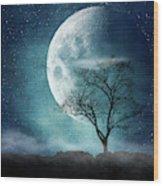 Moon Blues Wood Print
