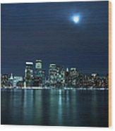 Moon Light Over New York City Wood Print