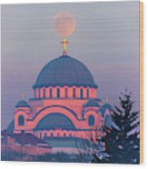 Moon On Top Of The Cross Of The Magnificent St. Sava Temple In Belgrade Wood Print