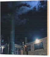 Moon Over Industrial Chicago Alley Wood Print