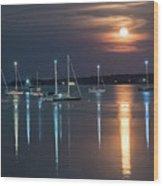 Moon Over Rockland Wood Print
