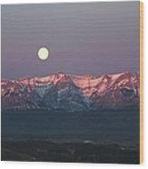 Moon Set Over Front Range Mountains Wood Print