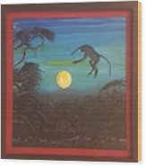 Moonlight Baboon Wood Print