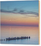 Moonset On Lake Superior Wood Print
