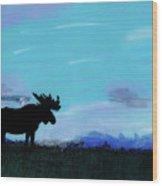Moose - At - Sunset Wood Print