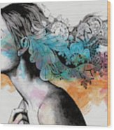 Moral Eclipse II - Portrait Of Woman With Doodles Sketch Wood Print