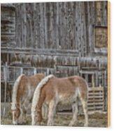 Horses By The Barn Sugarbush Farm Wood Print