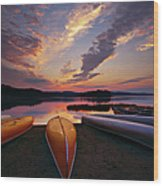 Morning At Lake Of The Two Rivers Wood Print